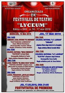 Afisul festivalului de teatru Lyceum 2018